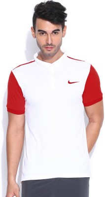 Nike Solid Men's Polo Neck White T-Shirt