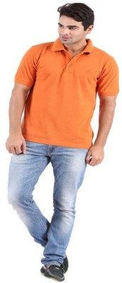 Rockhard Solid Men's Polo Neck Orange T-Shirt