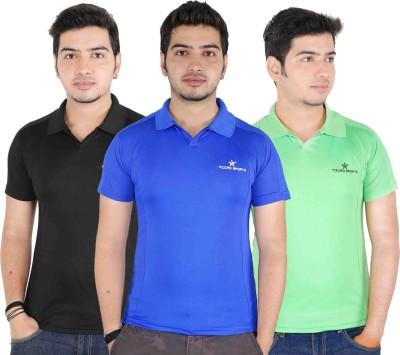 JBN Creation Solid Men's Polo Neck Blue, Light Green, Black T-Shirt