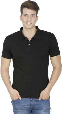 Sass Solid Men's Polo Neck Black T-Shirt