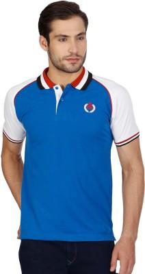 Cloak & Decker Solid Men's Polo Neck Blue T-Shirt