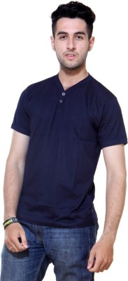Ashdan Solid Men's Henley Dark Blue T-Shirt