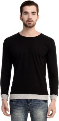 Mimoda Solid Men's Round Neck Black, Grey T-Shirt
