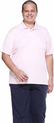 PlusS Solid Men's Polo Neck Pink T-Shirt