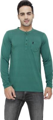 Eprilla Solid Men,s Henley Green T-Shirt