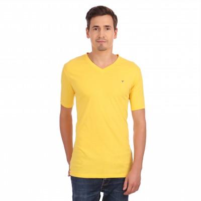 Neva Solid Men's V-neck Yellow T-Shirt