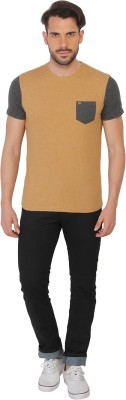 Being Human Clothing Solid Men's Round Neck Brown T-Shirt