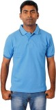 Grass Solid Men's Polo Neck Blue T-Shirt