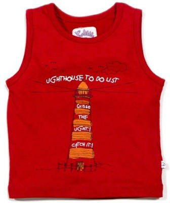 Solittle Graphic Print Boy,s Round Neck Red T-Shirt