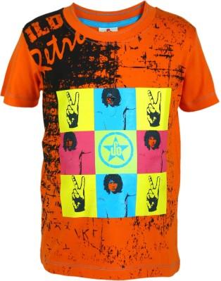 UFO Graphic Print Boy's Round Neck Orange T-Shirt