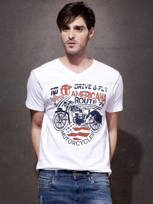 Roadster Printed Men's V-neck White T-Shirt