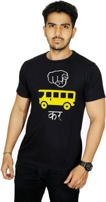 Ekvi Printed Men's Round Neck Black T-Shirt