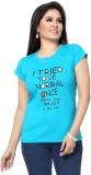 Prova Solid Women's Round Neck Light Blu...