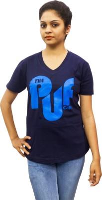 Epic Ink Graphic Print Women's V-neck Blue T-Shirt