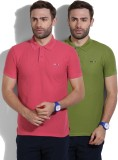 Newport Solid Men's Polo Neck Green, Pin...