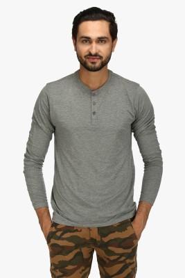Global Nomad Solid Men's Henley Grey T-Shirt