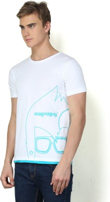 Magnoguy Printed Men's Round Neck White, Light Blue T-Shirt
