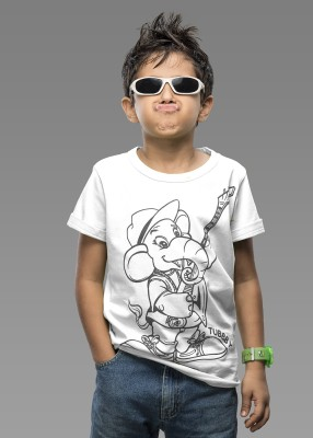 Imagica Printed Boys Round Neck White T-Shirt