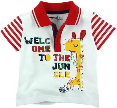 Babyoye Printed Boy's Polo Neck Red T-Shirt