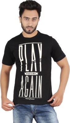 CHECKERSBAY Printed Men's Round Neck Black T-Shirt