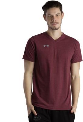 Arcley Solid Boy's V-neck Purple T-Shirt
