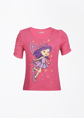 People Printed Girl's Round Neck Pink T-Shirt