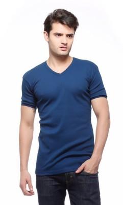 smilebynature Solid Men's V-neck Blue T-Shirt