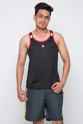 Acetone Solid Men's Scoop Neck Black, Red T-Shirt