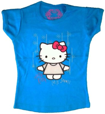 Cool Baby Printed Girls Round Neck Blue T-Shirt