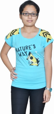 Gee & Bee Printed Women's Round Neck Blue T-Shirt