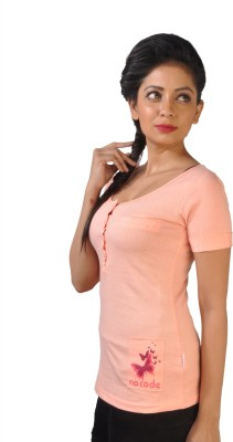 No Code Solid Women's Round Neck Pink T-Shirt