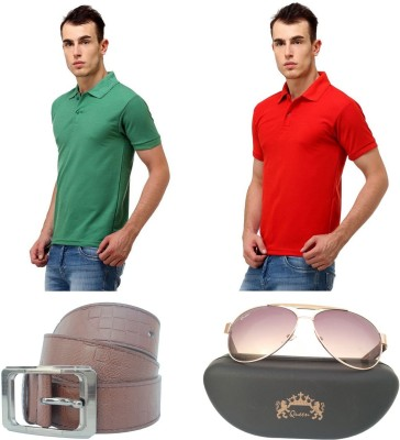 Tele Queen Solid Men's Polo Neck Light Green, Red T-Shirt
