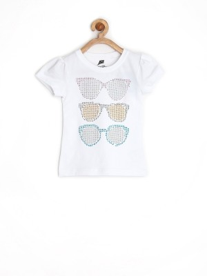 Yellow Kite Solid Girl's Round Neck T-Shirt