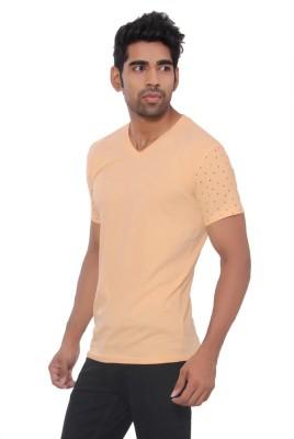Pezzava Self Design Men's V-neck Reversible Orange, Red T-Shirt