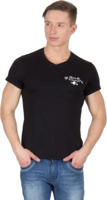 Wilkins & Tuscany Solid Men's V-neck Black T-Shirt