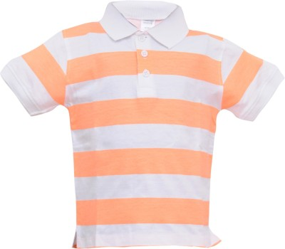 Most Wanted Printed Boy's Polo Neck White, Orange T-Shirt