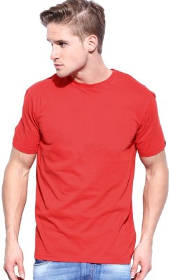 Redzo Solid Men's Round Neck Red T-Shirt