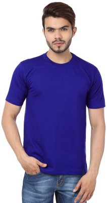 Subu Solid Men's Round Neck Blue T-Shirt