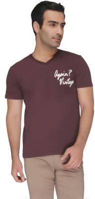 Again Vintage Solid Men's V-neck Brown T-Shirt