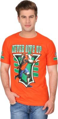 4Play Printed Men's Round Neck Orange T-Shirt