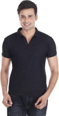 Pikcart Solid Men's Polo Neck Black T-Shirt