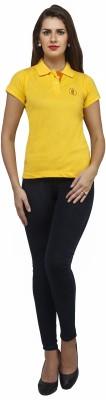 Run of luck Solid Women's Polo Yellow T-Shirt