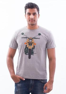 Punjabi Heritage Printed Men,s Round Neck Grey T-Shirt