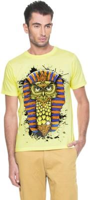 Zovi Printed Men's Round Neck Yellow T-Shirt