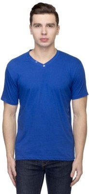 Martech Solid Men's V-neck Blue T-Shirt