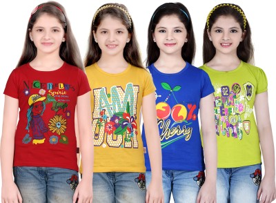 Sini Mini T- shirt For Girls(Multicolor)