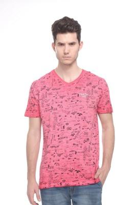 OCTAVE Printed Men's V-neck Red T-Shirt