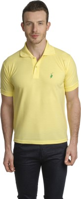 Green Wich United Polo Club Solid Men's Polo Yellow T-Shirt