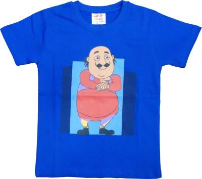 MOTU PATLU Solid Boy's Round Neck Blue T-Shirt