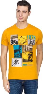 IQ Printed Men,s Round Neck Yellow T-Shirt
